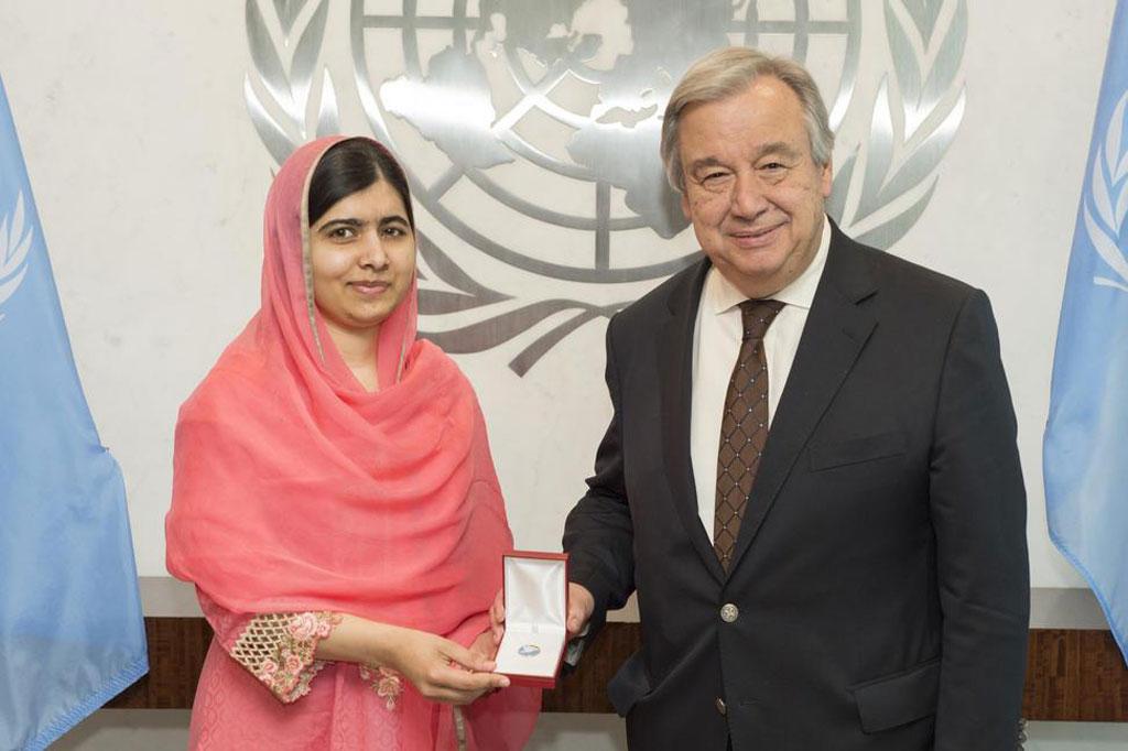 António Guterres e Malala Yousafzai. Crédito: Eskinder Debebe/ONU