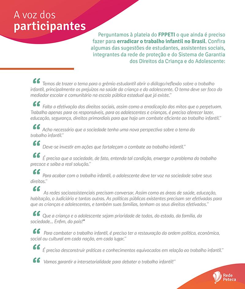 Perguntamos à plateia do FPPETI o que ainda é preciso fazer para erradicar o trabalho infantil no Brasil. Confira algumas das sugestões de estudantes, assistentes sociais, integrantes da rede de proteção e do Sistema de Garantia dos Direitos da Criança e do Adolescente.