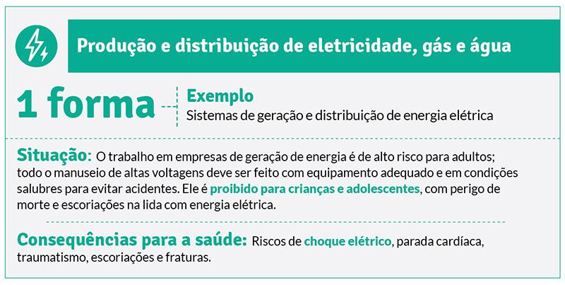 Trabalho infantil em sistemas de geração e distribuição de energia elétrica.