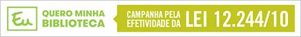 Logotipo da campanha: Eu quero minha biblioteca! Participe da mobilização.