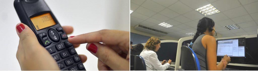 canal de denuncia contra o trabalho infantil: montagem com telefone do lado esquerdo e central de atendimento do lado direito