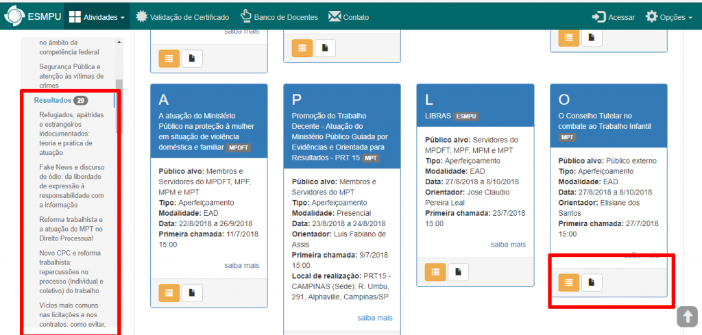 Página de processos seletivos do site da ESMPU