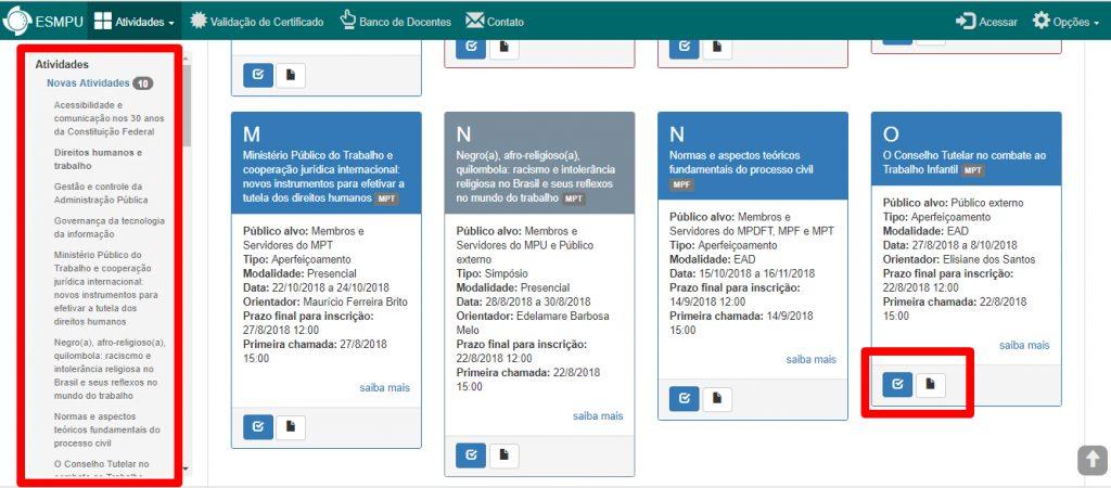 Página de processos seletivos do ESMPU
